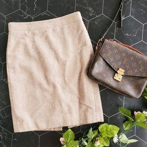 J. Crew Cream Wool Blend The Pencil Skirt